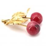 Ciondolo artistico ciliegie, rodonite e oro; 16.88 gr