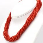 Collana torchon a 10 fili di corallo rosso, microboulle 4 mm - 133 gr; 45 cm