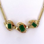 Collier oro, smeraldi - 9-9.5 ct- e diamanti - 0.35-0.40 ct; 34.19 gr - 44 cm