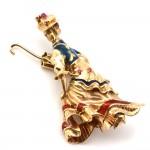 Spilla capolavoro vintage Mary Poppins oro, smalti e rubini. 15.1 gr; 5.1 cm x 3 cm
