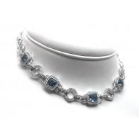 Collier argento, zirconi e topazi azzurri sintetici