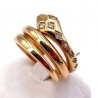 Anello maxi serpente, in stile, oro e diamanti - 0.15-0.19 ct-  10.83 gr