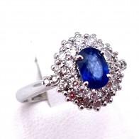 Anello margherita zaffiro - 1.95-2.00 ct - e diamanti - 1.20-1.25 ct; 4.53 gr