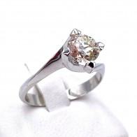 Anello solitario, montatura modello valentino, oro e diamante taglio antico - 1.05 ct; 3.69 gr