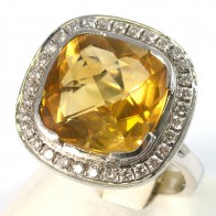 Anello maxi oro, topazio citrino -18-20 ct- e diamanti - 0.65-0.75 ct-  13.8 gr