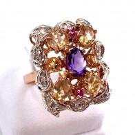 Anello, oro, argento,  pietre di sintesi e mini diamanti; 6.58 gr