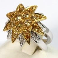 Anello maxi fiore stellato doppio oro, topazi citrini e diamanti - 0.18 ct-  14.6 gr