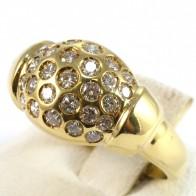 Anello fascia in oro con palloncino di diamanti -0.85-0.90 ct; 6.9 gr