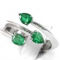 Anello trilogy, oro e gocce di smeraldo - 1.70 ct; 6.1 gr