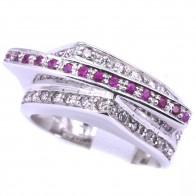 Anello fascia tripla oro, rubini - 0.35-0.40 ct - e diamanti -  0.40-0.50 ct; 13 gr