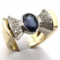 Anello maxi fiocco in stile oro, zaffiro - 2.5-3 ct e diamanti - 0.80 ct; 15.3 gr
