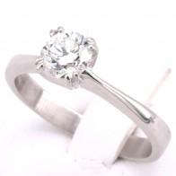 Anello solitario oro e diamante - 0.82 ct, F VS; 4.33 gr