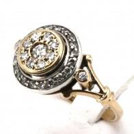 Anello toppa in oro e diamanti -0.60-0.68 ct; 4.88 gr