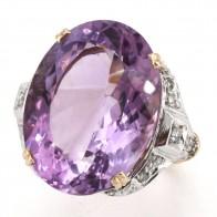 Anello in stile ametista, oro e diamanti - 0.30-0.35 ct; 11.25 gr