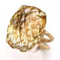 Anello vintage in stile, oro e quarzo citrino ovale; 13.49 gr