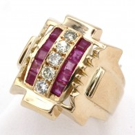 Anello stile Decò, autentico, oro giallo, rubini -0.70-0.80 ct- e diamanti - 0.50-0.60 ct; 18.7 gr