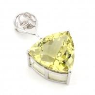 Ciondolo in argento con maxi triangolo di quarzo oro verde e zirconi; 12.54 gr