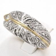 Anello fascia foglia in oro diamanti -0.35-0.40 ct; 7.08 gr