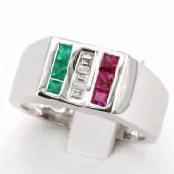 Anello uomo Italia fascia, oro, diamanti - 0.30 ct e pietre di colore (smeraldi e rubini) per 0.70 ct totali; 8.15 gr