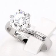 Anello solitario, montatura modello valentino, oro e diamante - 1.48 ct; 3.66 gr