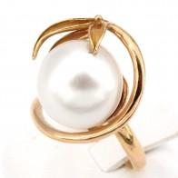 Anello maxi perla australiana, oro - 9.05 gr