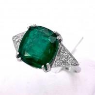 Anello oro, smeraldo - 5.20-5.50 ct - e diamanti - 0.30-0.35 ct; 3.96 gr