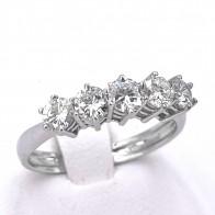 Anello riviera oro e 5 diamanti -0.90 ct; 2.56 gr