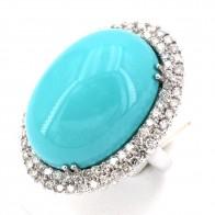 Anello maxi margherita turchese e diamanti -3.50-4.00 ct; 22.5 gr