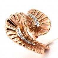 Anello maxi contrariè, doppio drappo, in oro e diamanti -0.15-0.20 ct totali; 14.10 gr