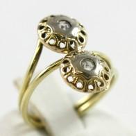 Anello contrariè toppe, in stile, oro e diamanti sintetici - 2,8 gr