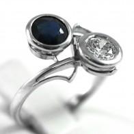 Anello contrariè, in stile, oro, zaffiro - 0,70-0,80 ct e diamante taglio antico per 0,35-0,40 ct - 2,7 gr