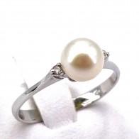 Anello perla, oro e diamanti - 0.03 ct- 1.8 gr