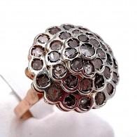 Anello toppa conica in stile oro, argento e diamanti - 7.69 gr