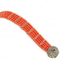 Bracciale multifilo in stile oro, corallo, zaffiro -1.5 ct- e diamanti -1.10-1.20 ct - 45.4 gr; 20 cm
