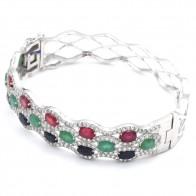 Bracciale rigido argento, zaffiri, smeraldi, rubini e zirconi - 26 gr