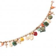 Bracciale charms anti iella, argento rosa; 26.1 gr - 21 cm