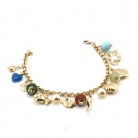 Bracciale charms, oro, pietre dure e perle - 20 cm; 20.45 gr