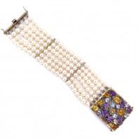 Bracciale multifilo in stile oro, perle, quarzi e diamanti -0.12 ct; 20 x 4.1 cm; 90 gr