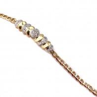Bracciale oro groumette con inserto rigido ovali oro e diamanti -0.35-0.45 ct - 18 cm; 12.1 gr.