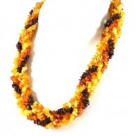 Collana maxi treccia ambra tricolore a sassi irregolari - 71.2 gr; 56 cm x 2.1 cm