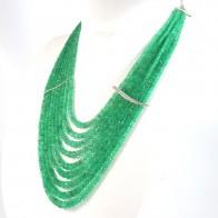 Collana multifilo smeraldo -450 ct- capolavoro, oro e diamanti - 0.42 ct; 109.5 gr