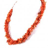 Collana torchon a 3 fili di corallo etnico e argento - 91 gr; 53 cm