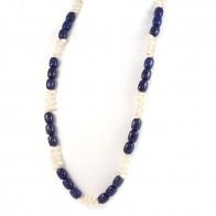 Collana lapis, perle e argento - 80 cm; 172.5 gr -