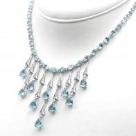 Collana oro, acquamarina - 38.75 ct - e diamanti -  2.29 ct- 40 cm; 40.7 gr.
