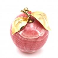 Ciondolo artistico mela, rodocrosite e oro; 58.95 gr