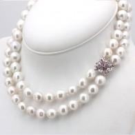 Collana girocollo doppio filo di perle australiane - 11-14 mm, oro e rubini -0.35-0.40 ct- 40 cm; 153 gr