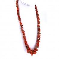 Collana corallo rosso etnico, a scalare 5-26 mm e argento - 114.48 gr; 60 cm