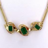 Collier oro, smeraldi - 9-9.5 ct- e diamanti - 0.35-0.40 ct; 34.19 gr - 44 cm