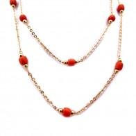 Collana catena oro e barilotti corallo - 90 cm; 20.53 gr