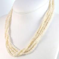 Collana torchon multifilo micro perle e oro - 50 cm; 75,8 gr.